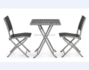 3 Pieces Outdoor Patio Garden Furniture Steel Plastic Wood Chat Dining Set Table and Chair