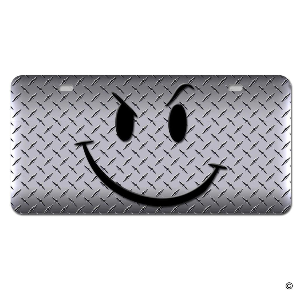 License Plate Covers Winky Face Purple Chrome Metal License Plate Frame Tag Holder Four Holes Exterior Accessories