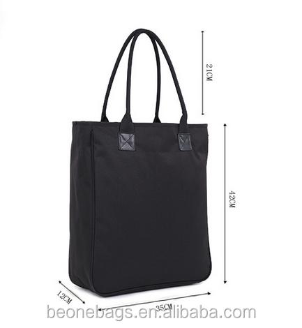 Waterproof Black Nylon Tote Bag Handbags With Leather Handles Product On Alibaba