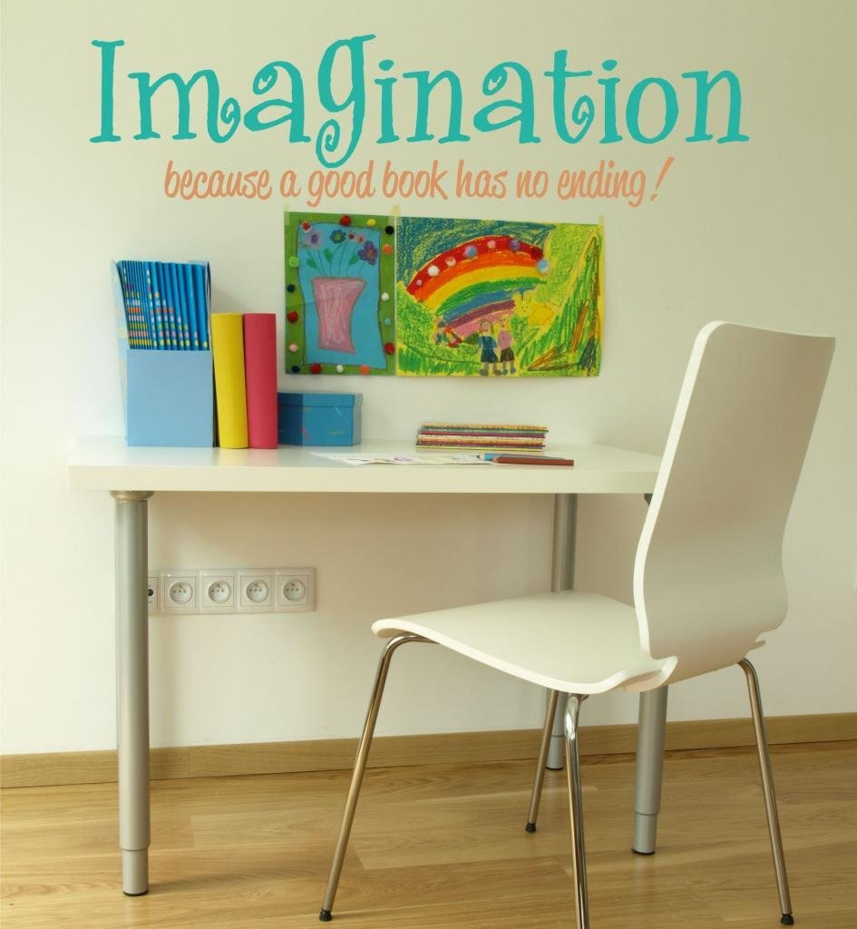 "Imagination Quote Wall Decal Stickers, 36"" W by 10"" H, Playroom Decals, Playroom Quotes, Reading Quote Decal, Inspirational Wall Decals, Reading Nook, U15, PLUS FREE 12"" BLACK PERSONALIZED NAME DECAL"