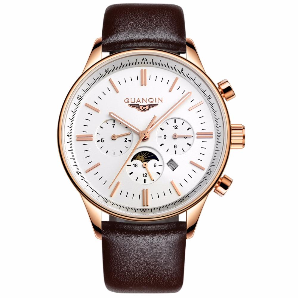 GUANQIN GQ12003 Men Quartz Wristwatch New Arrival Luxury Military Sports Genuine Leather Strap Calendar Analog Watch фото