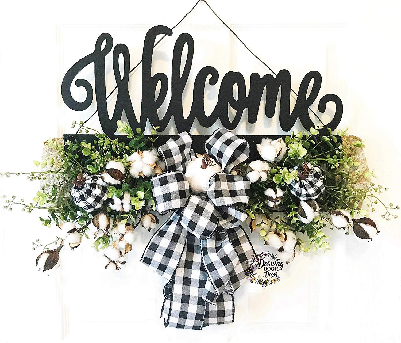 Welcome Door Hanger, Welcome Rail, Farmhouse Decor, Rustic, Cotton Decor, Buffalo Check, Door Decor, Black Door Hanger, Farmhouse Door