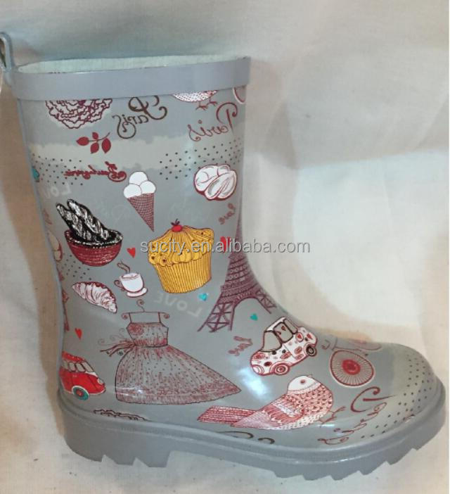 kids rubber rain boots with printed decorative wellies