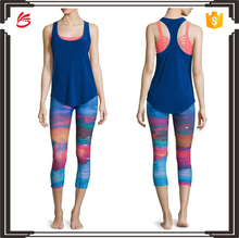 Glossy flow racerback fitness wear sport tank top and leggings yoga clothing