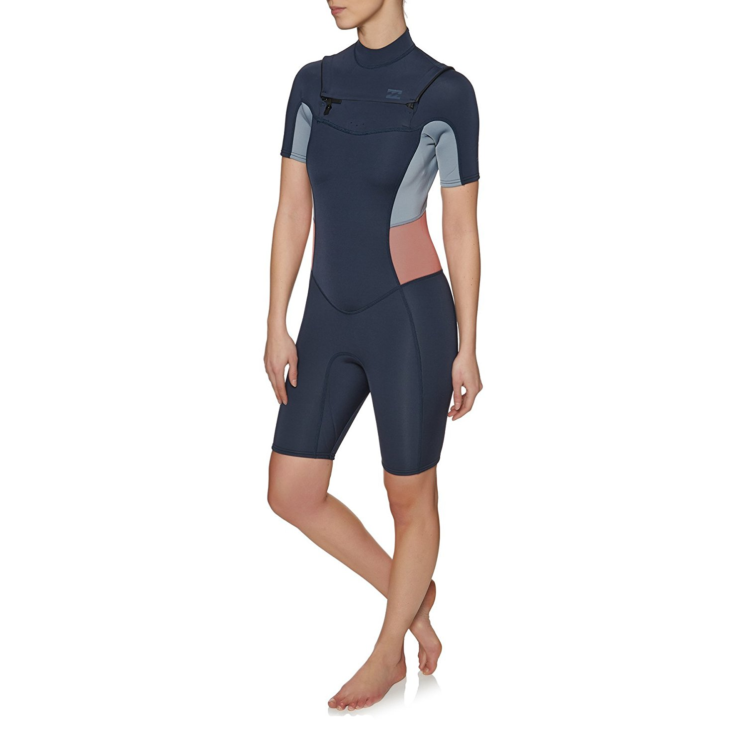 1a5a0a074c Get Quotations · Billabong 2mm 2018 Synergy Short Sleeve Chest Zip Shorty  Wetsuit 8 Slate
