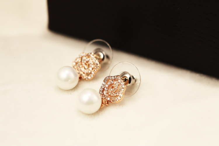 Detail Feedback Questions about Rhinestones Pave Camellia Earrings ... a80e77129297