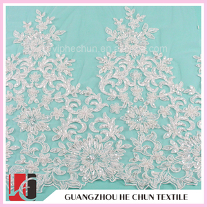 WHF-102-1 Hechun Full Beaded Embroidered Swiss Double Organza Lace for Wedding Dress