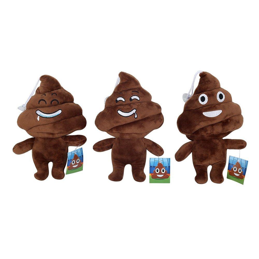 Cute Emoji Poo Poo Emoticon Brown Stuffed Plush Soft Kids Toy 3pcs(Emoji at random)