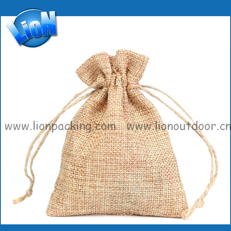 fabricante bolsa de arpillera de yute bolsa de regalo con cordn