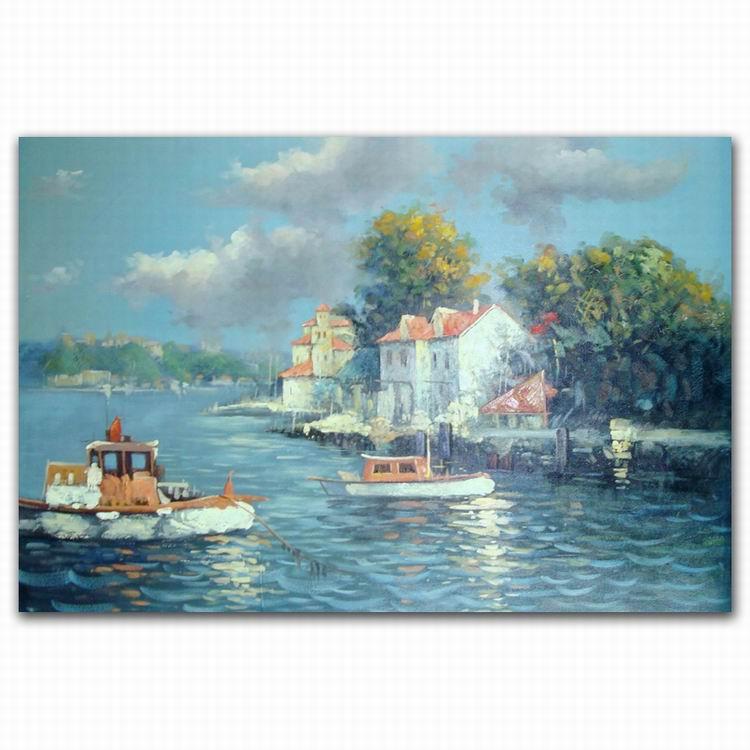 Arte de la pared de la india ciudad costera barco paisaje pintura al ...