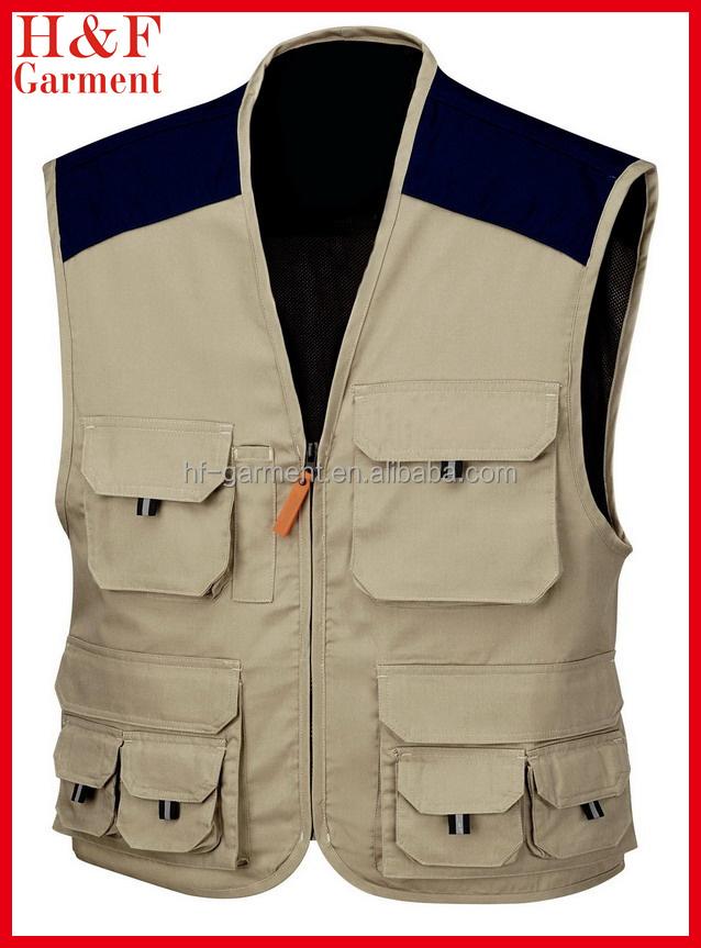 e7d7aa530d Khaki multi bolsillo trabajo chaleco para los hombres logotipo bordado  personalizado