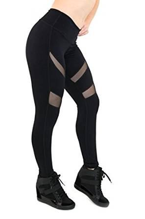 8214f15da8 Get Quotations · Kathyana Womens Slashed Mesh Workout Fitness Yoga Leggings  (Medium, Black)