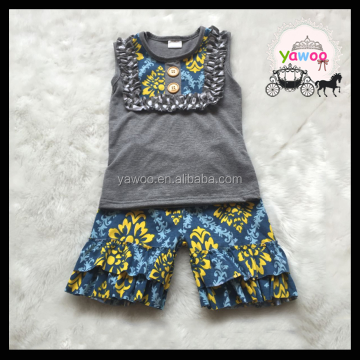 Gray tops ruffle shorts clothing sets yawoo brand clothes kids boutique outfits malaysia supplier kids clothing wholesale