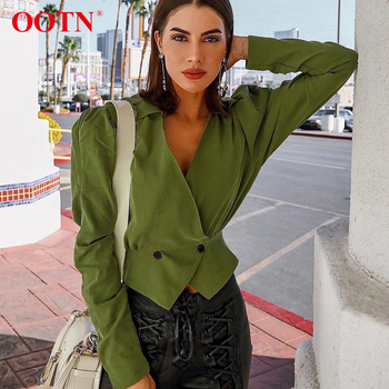 OOTN V Neck Slim Ladies Sexy Vintage Button 2019 Blusas Women Green Shirts Blouses Cotton Puff Sleeve Tops Tunic Crop Top Blouse