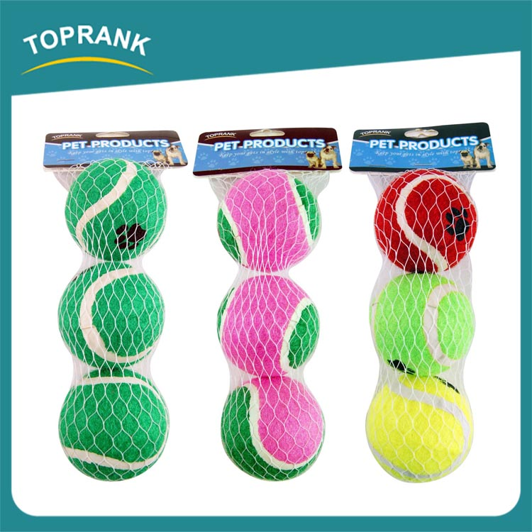 Custom printed 3 pcs dog training throw toy bulk pet toy tennis ball