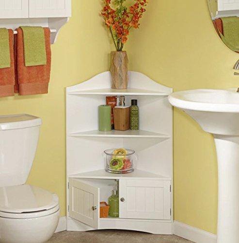 Corner Floor Cabinet with White Shutter Door White Corner Cabinet With Open Shelves Room Décor Furniture Corner Wall Cabinet Corner Storage Cabinet Corner Bathroom Cabinet Corner Cabinet Shelf (White)
