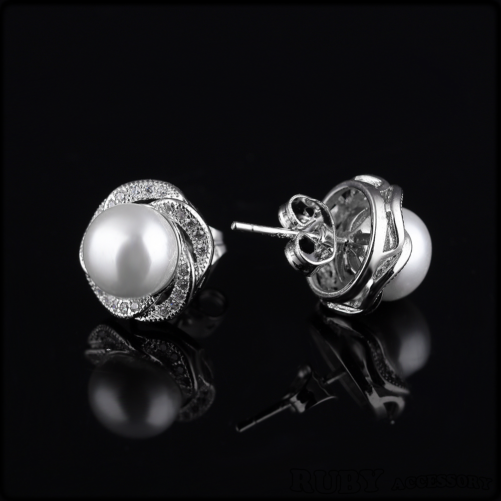 Micro inlay zircon Fashion copper plating platinum artificial pearl stud earrings for women 308
