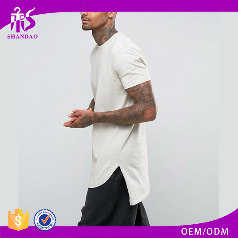 Guangzhou Shandao Factory Hot Sale Fashion Style O-Neck Short Sleeve 180g 70% Polyester 30% Cotton Long T Shirt Men