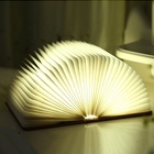 2019 Newest Trending products rechargeable paper folding led book lamp with wooden cover