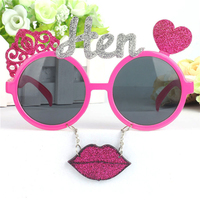 DLP9127 Girls Single Party Glasses Pink Flash Pink Lips Hen Letter wedding Glasses