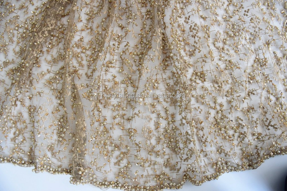 2017 Top end french gold sequins tulle lace fabric 3d lace fabric beads bridal wedding lace HY0617