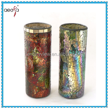 New Design Mirrored Mosaic Tall Vase With Decorage Buy Mirrored
