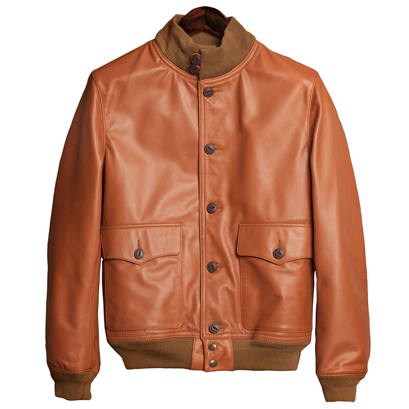 aviator a1 bomber genuine cow leather jacket men