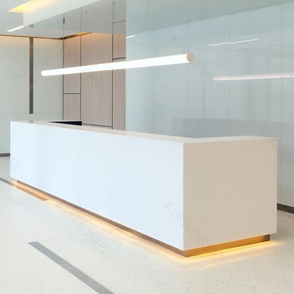 Customized Design Quartz Stone Curved Reception Desk, Customized