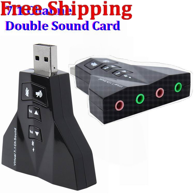 2 in 1 3D External Usb Audio 3D Sound Card 7.1 Digital Dual Virtual 7.1 Channel USB 2.0 Audio Adapter airplane Double Sound Card фото