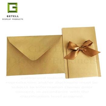 Custom High End Paper Wedding Envelopes With Ribbon Invitation Card Holder Buy Kraft Paper Envelope With String Designed Wedding Money