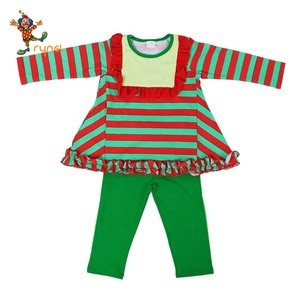 Toddler Girls ruffle outfits long sleeve outfits with stripe top and green pants children clothes PGCC6092