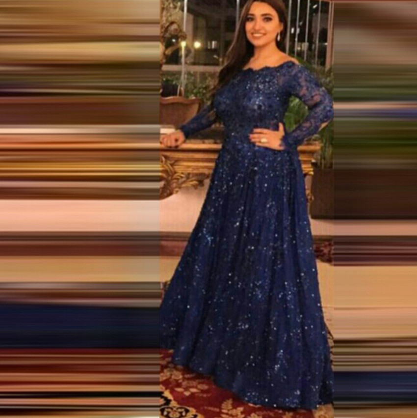 a8353def213f6 New Fashion Navy Blue Long Sequin Plus Size Evening Dresses Robe Longue Bleu  Long Sleeve Elegant Evening Gown Robe De Soiree