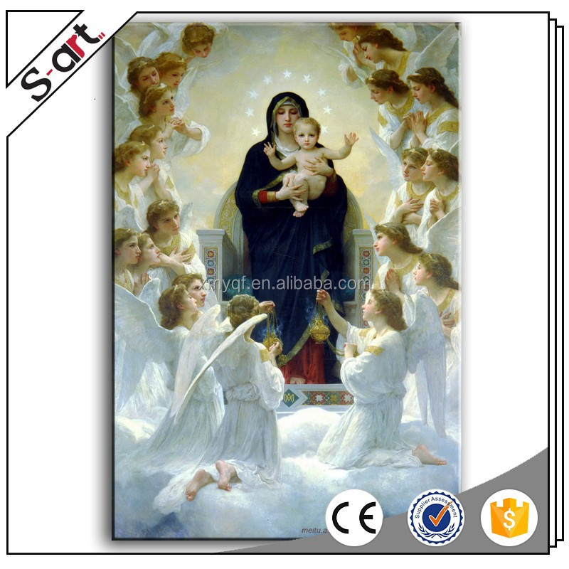Handmade mirgin mary mother and baby jesus christ religious oil painting picture on canvas