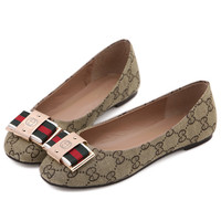 striped italian shoes alphabets slip on flats metal decorative casual round toe women flat shoes