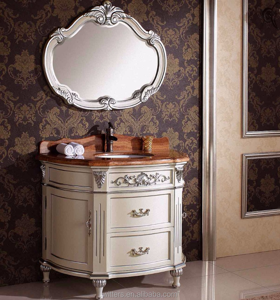 New Classical Gorgeous Oval Bathroom Cabinet,White Silver Leaf Bespoke Bathroom Cabinet for Powder Room WTS339