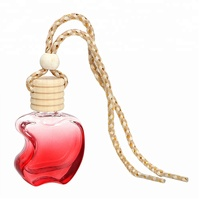 Wholesale 6ml Apple Shaped Crystal Glass Perfume Bottle Colorful Empty Car Air Freshener Bottles For Essential Oil