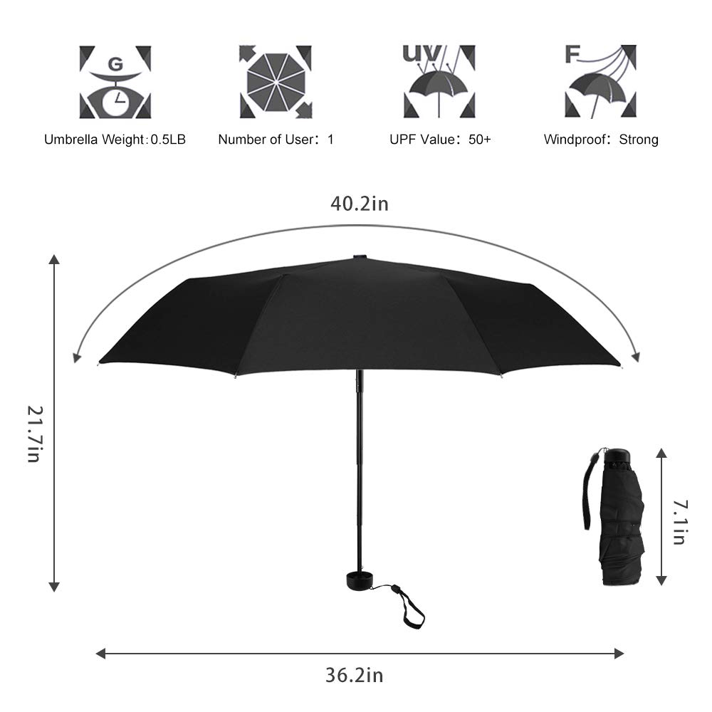 2019 Hot Selling Dia 90cm 6k Light Compact Manual Small Mini 5 Folding Umbrella