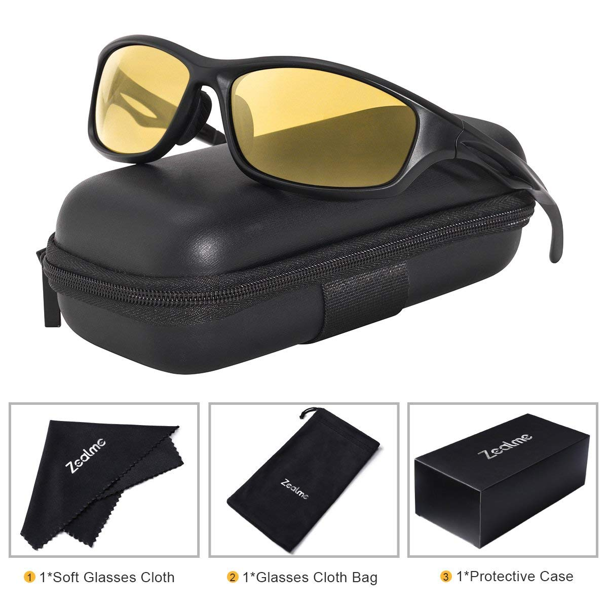 0bbf4cfc328 Get Quotations · Zealme Polarized Sports Sunglasses for Men Women  Lightweight Durable Plastic Frame HD Vision Anti Glare Lens