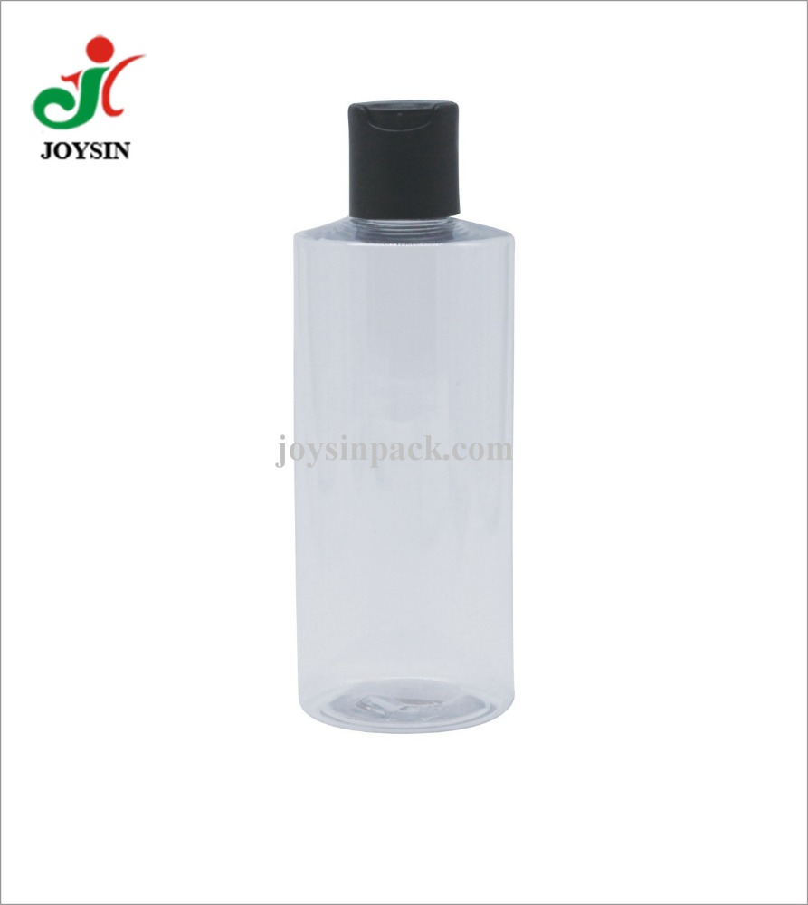 24/410 Disc Top Cap Clear Plastic PET 250ML Cylinder Container Shampoo Shower Gel Bottle for Cosmetic Packaging