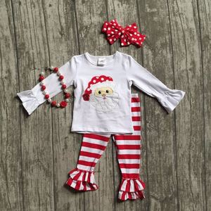 new Christmas winter clothes baby girls santa outfits children boutiques cotton red stripe ruffle pants match with accessories