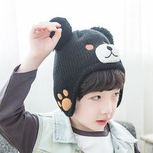 2017 Oso de dibujos animados más lana terciopelo invierno gorros bebé niño  hizo punto el sombrero niñas niños con orejeras CAPS . 21511df1121