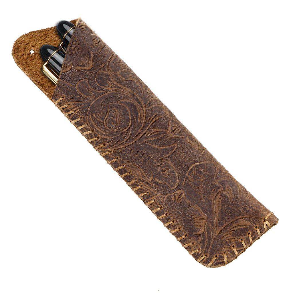 BTSKY Vintage Genuine Leather Pen Pencil Case- Handcarfted Carving Pen Case Holder for Fountain Pen/Ballpoint pen, Fits 2 Standard Pens (Brown)