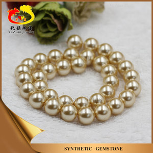 Chinese hot sale large pearl and gold bead necklace