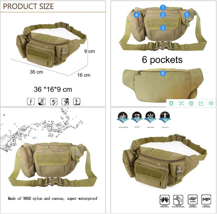 Osgoodway Waterproof Hip Belt Pouch Men Fanny Pack Military Waist Bag for Hiking Climbing Running