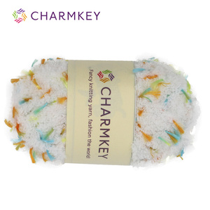 Wholesales Charmkey 100% Polyester Fluffy Yarn Slub Fancy Knit Yarn for Scarf and Sweater