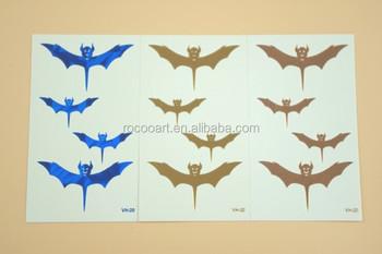 Vh 20 Unique Bat Designs Tattoos Gold Blue Temporary Sticker Metallic
