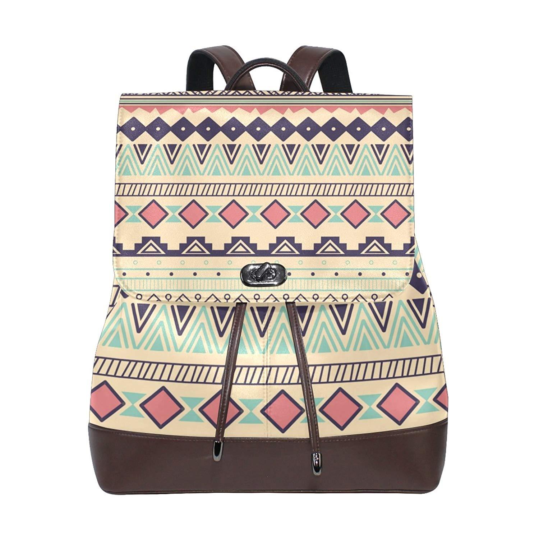 b0a15d029449 Get Quotations · Ethnic Ornaments Backpack Shoulder Bag Rucksack PU Leather  Women Girls Ladies Backpack Travel bag Rucksack