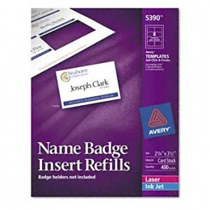 Avery® Additional White Laser Inserts for Badge Holders REFILL,F/5883,NAMETAG,400 T059920 (Pack of5)
