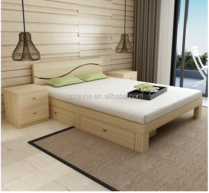 top sale solid wood pine used bed room furniture bedroom set
