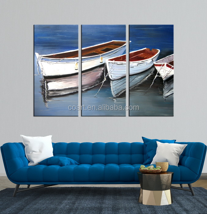 Abstract Oil Ship Canvas Painting